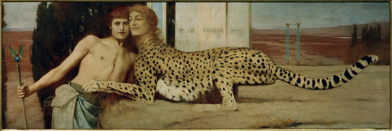 Belgischer Symbolismus Fernand Khnopff, Die Zärtlichkeit der Sphinx Musées royaux des Beaux-Arts de Belgique, Bruessel
