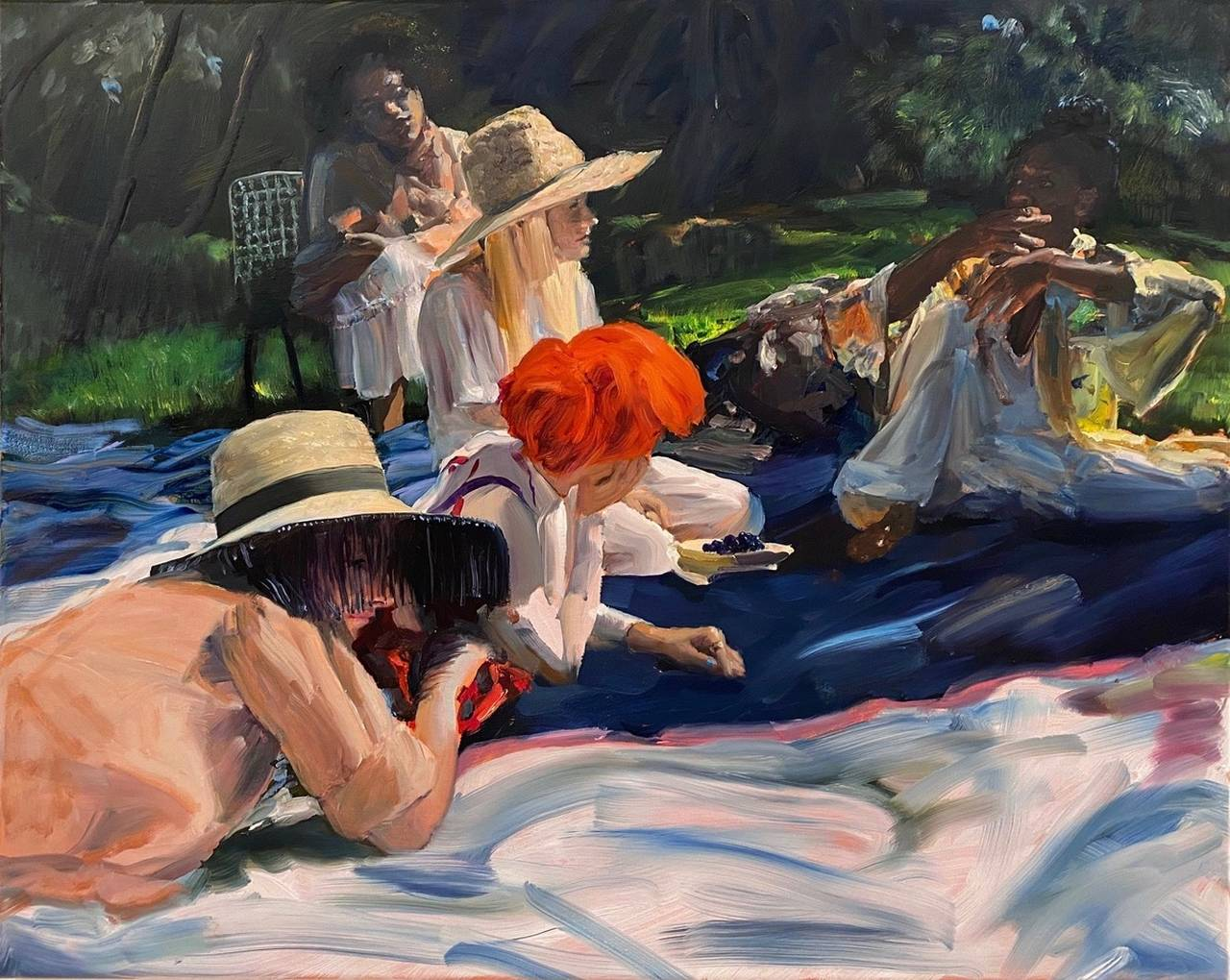 Jenna Gribbon, Lunch on the grass, a recurring dream, 2020, oil on linen, 24 x 30in. Courtesy of GNYP Gallery and the artist.