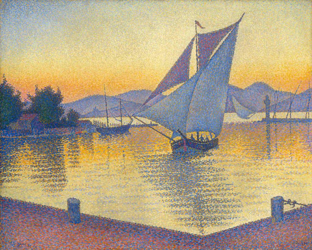 Museum Barberini Impressionismus Paul Signac Der Hafen bei Sonnenuntergang, 1892, Öl auf Leinwand, 65 x 81 cm, Sammlung Hasso Plattner