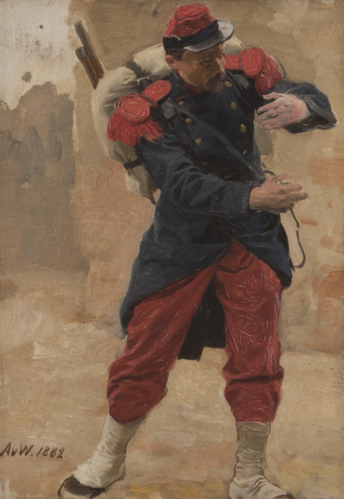 """Ausstellung """"Provenienzen. -Anton-von-Werner_Franzoesischer-Infanterist-mit-Marschgepaeck_Berlinische-Galerie_72dpi.jpg"""