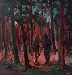 """""""Reddish Girl"""" Öl auf Leinwand 100 x 100 cm 2018 © ORION SHIMA"""