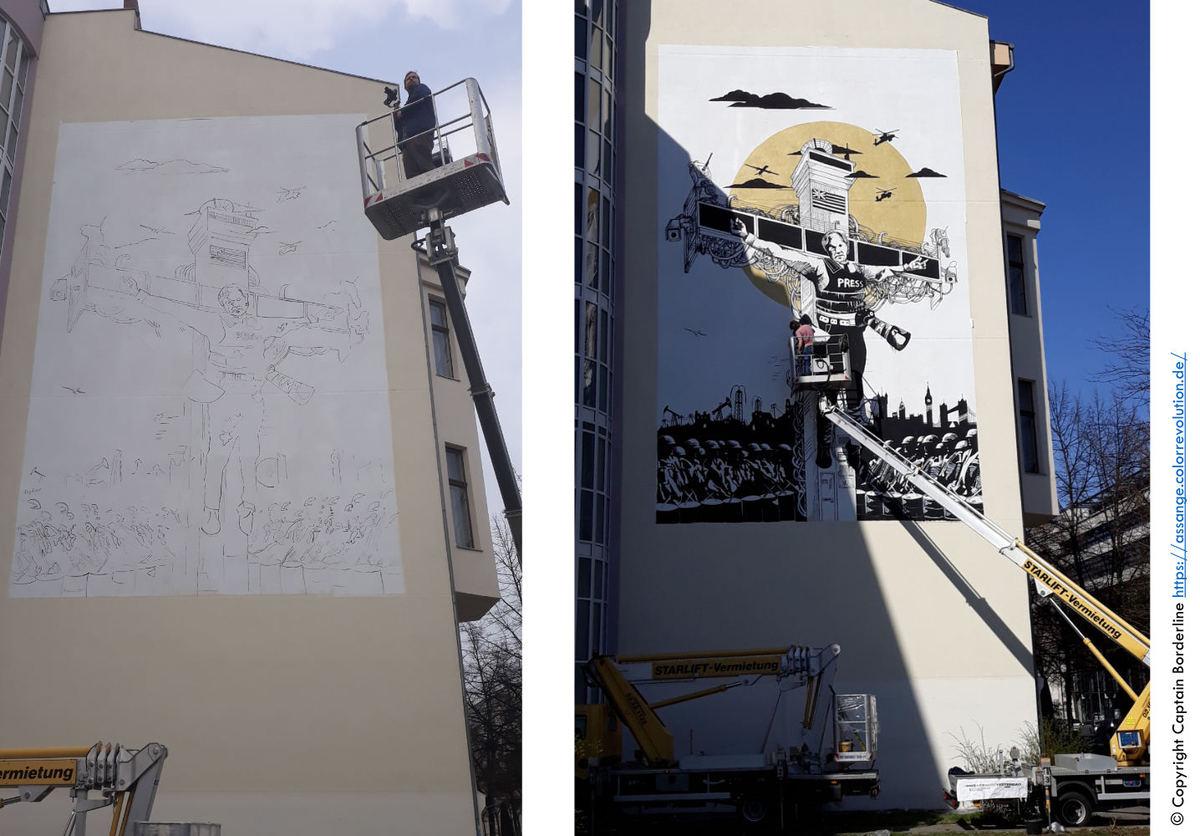 Entstehung des Assang Murals © Captain Borderline