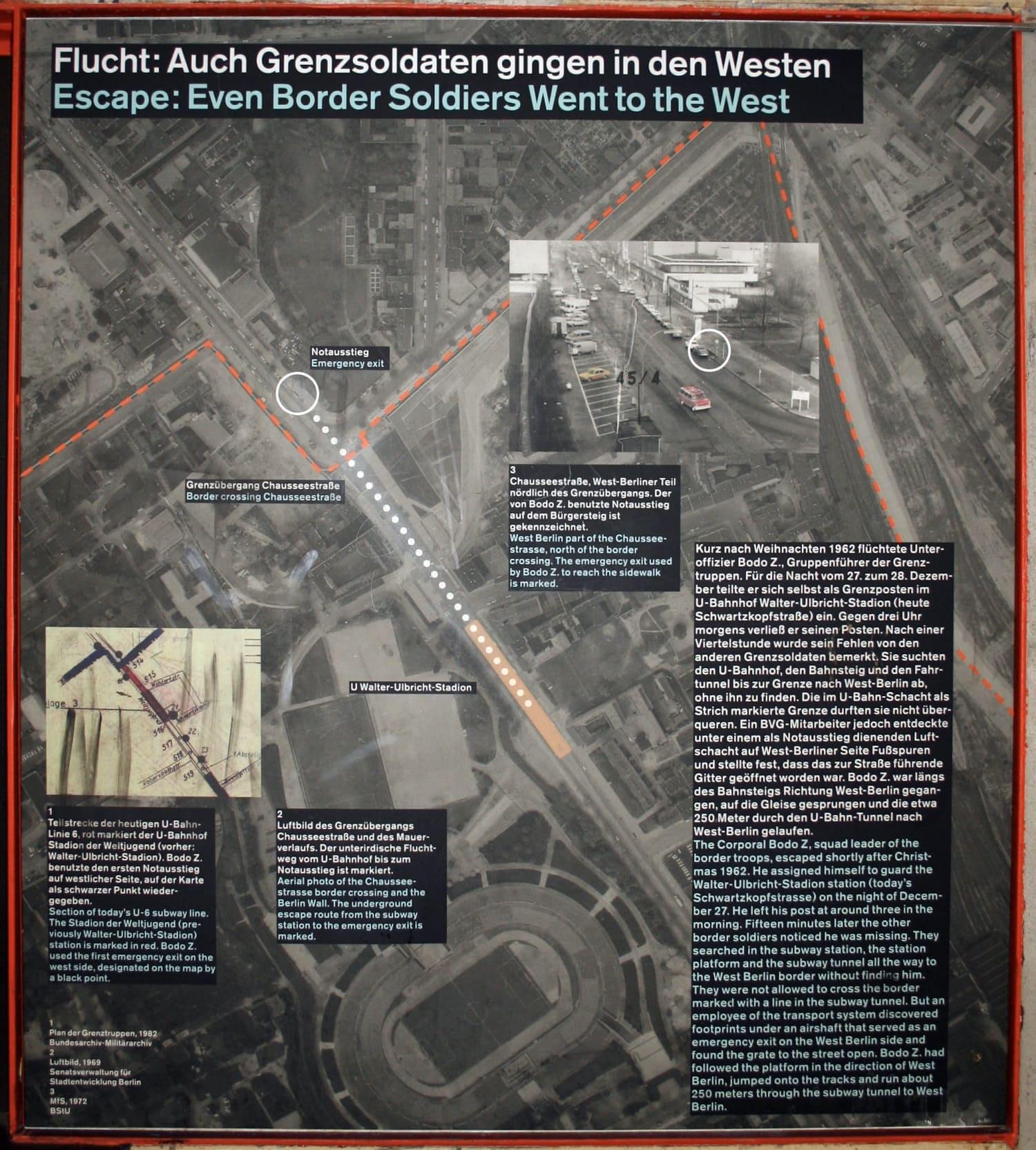 """© Ausstellung """"Grenz- und Geisterbahnhöfe im geteilten Berlin"""" Tafel zur Flucht des Bodo Z. © Gedenkstätte Berliner Mauer"""