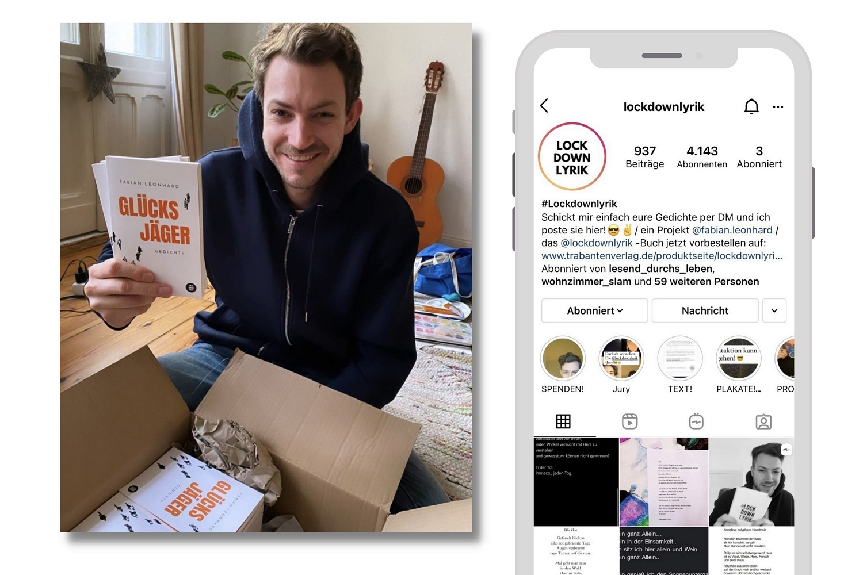 Fabian Leonhard (links); Screenshot: lockdownlyrik, Instagram Profil (rechts)