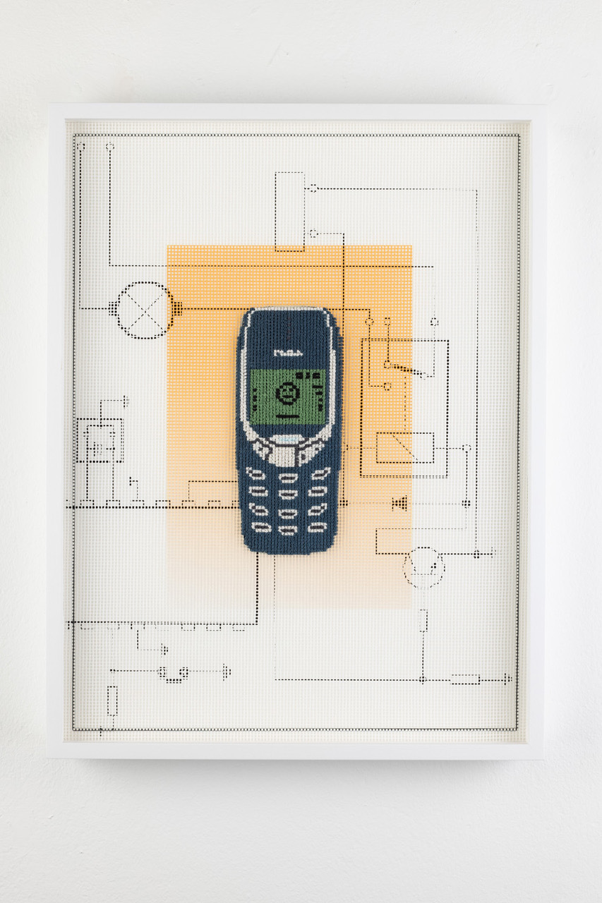 """""""Nokia 3310 cellphone (2000)"""" from the series Early Digital Tech, Agents From The Age of Acceleration, 2021, inkjet print, print on strammen fabric, handmade embroidery, cotton threat, 40 x 21 cm, Foto: Thomas Bruns, Berlin"""