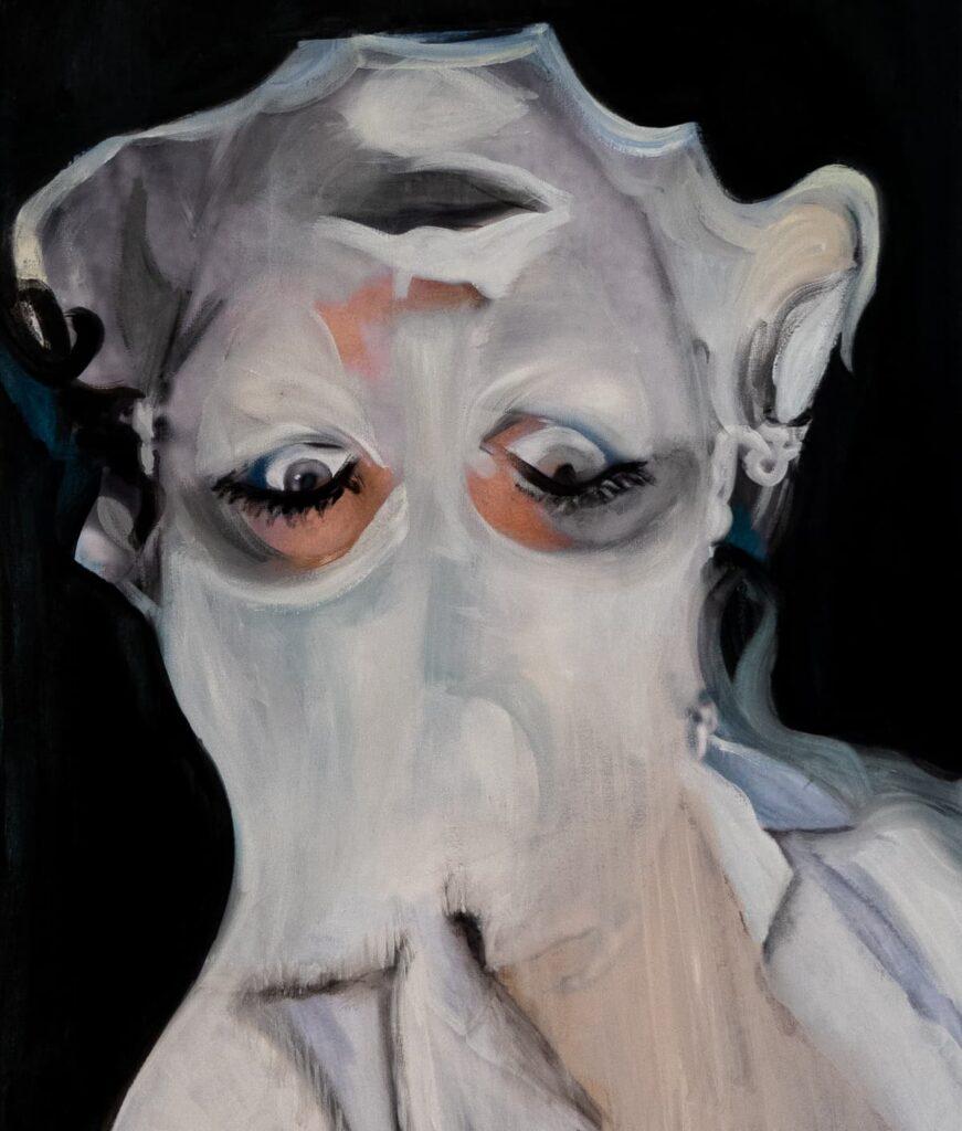 Transhumane Verstrickung, Ex Machina, 2021 Oil on Canvas, 23.6 x 15.8 in