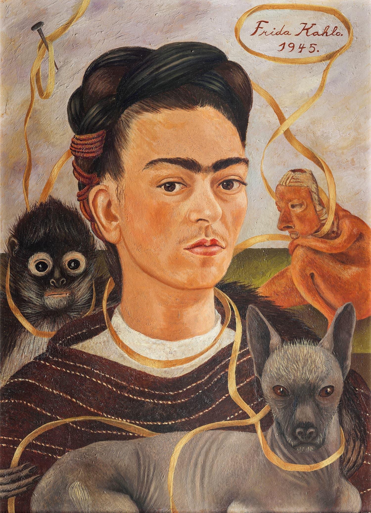 Self-portrait with Small Monkey, 1945 Oil on masonite, 56 x 41.5 cm (22 x 16⅜ in.)