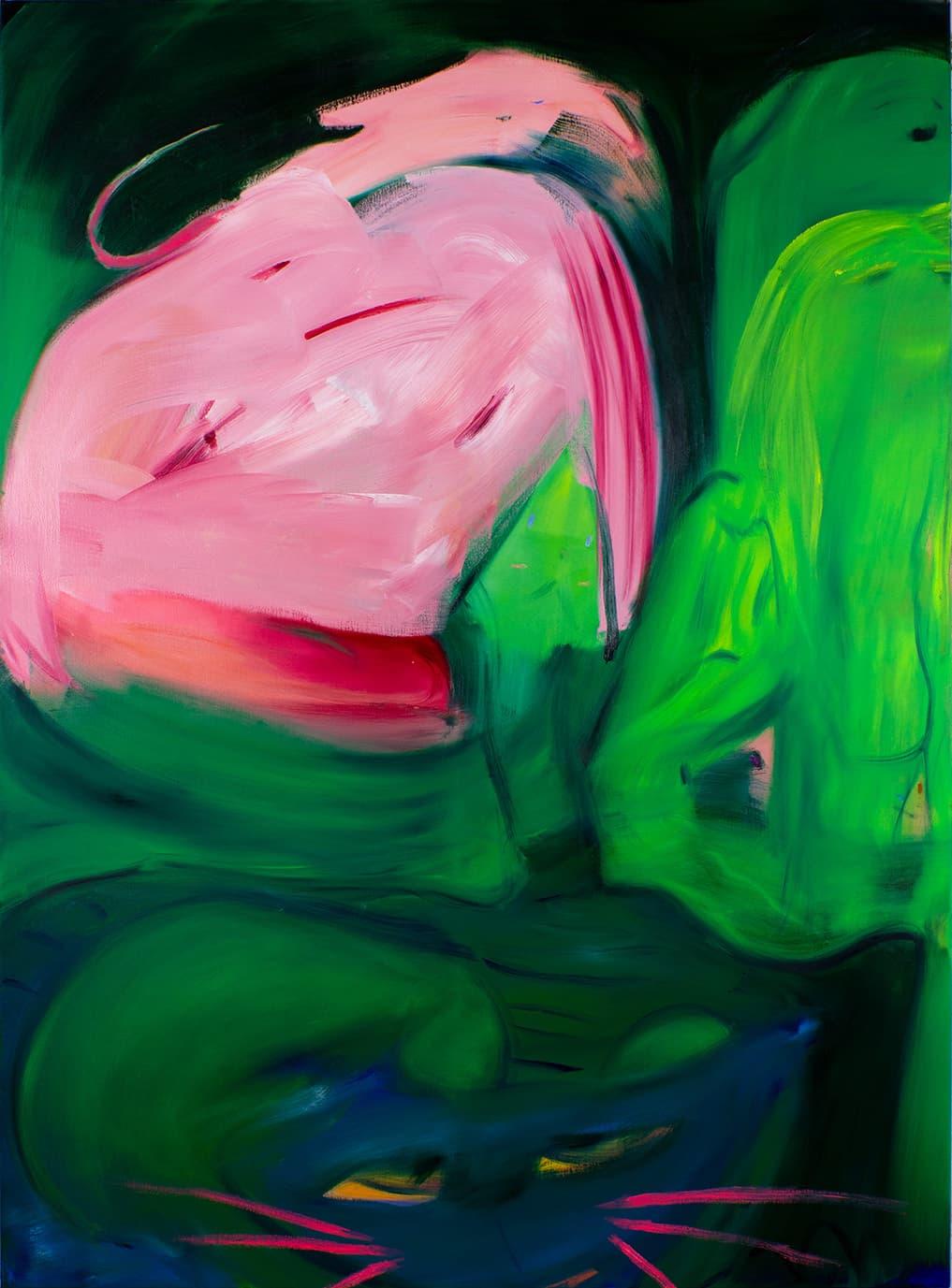 Aneta Kajzer, Katz und Maus, 2020, Öl auf Leinwand, 190 x 140cm, courtesy of CONRADS & the artist
