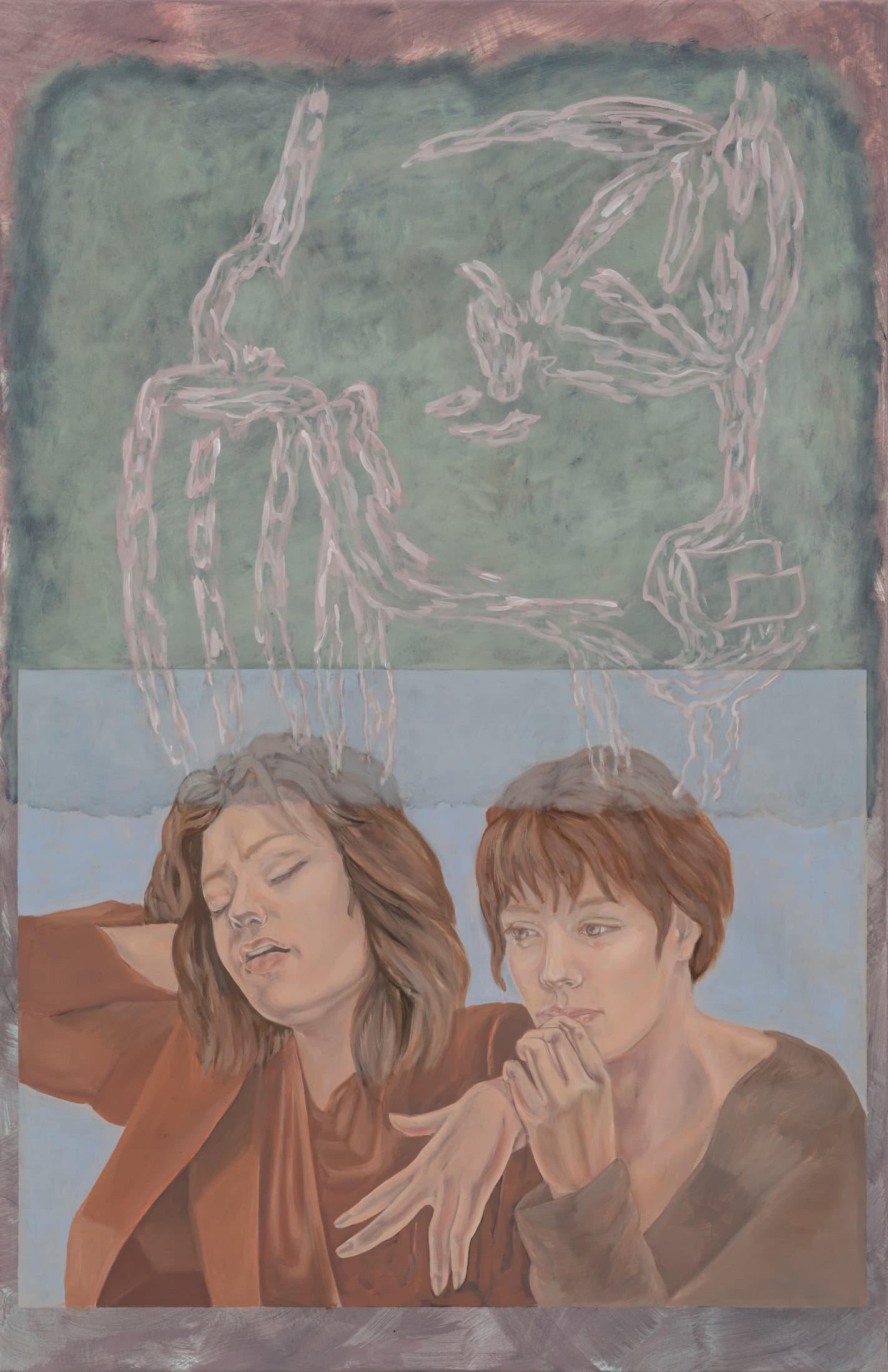 Minda Andren, X and Y travelling together, 2021, Oil on canvas, 100 x 65 cm