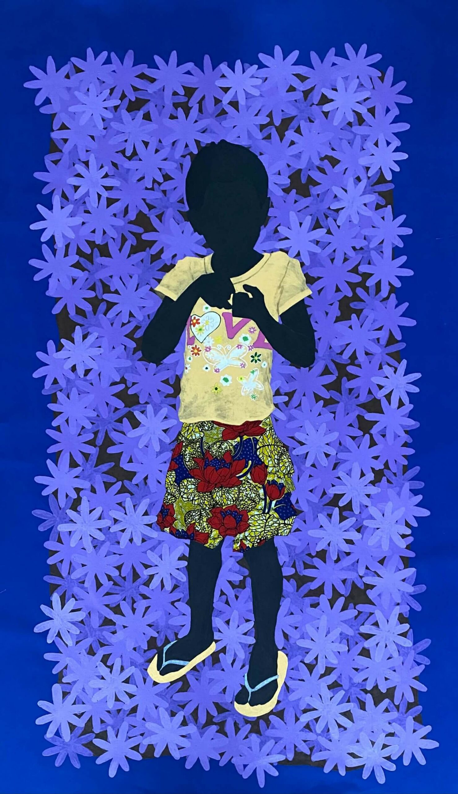 Raphael Adjetey Adjei Mayne UNTITLED 2021 Acrylic and African wax print on canvas