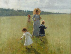 Ilja Repin: Auf dem Feldrain. Vera A. Repina geht mit ihren Kindern über den Feldrain, 1879, Staatliche Tretjakow-Galerie, Moskau