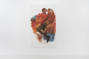 Mwangi Hutter Varicolored Dreams (Burning Series) 2021 watercolor, acrylic on canvas 200 x 110 cm